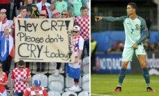 Kroatų fanai ir Cristiano Ronaldo (AFP/Reuters/Scanpix nuotr.)