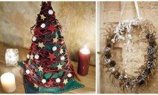 Dvi originalios idėjos Kalėdoms: eglutė iš veltinio ir vainikas iš žolių
