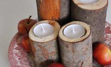 """<span style=""""color: #ff0000;"""">Pasidaryk pats:</span> žvakidės iš medžio kamieno"""