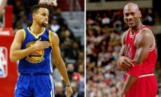 Stephenas Curry ir Michaelas Jordanas (AFP/Scanpix ir Vida Press nuotr.)