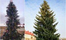 2013 ir 2015 m. Kalėdų eglės Panevėžyje (DELFI ir E. Krikščiūno nuotr.)
