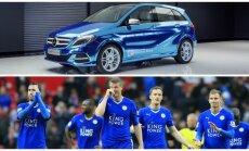 Mercedes B-Class Electric Drive ir Leicester žaidėjai (Gamint./AP nuotr.)