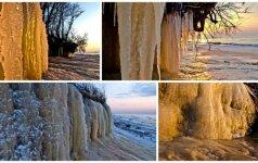 Lietuvos pajūryje gamta sukūrė stebuklus: ledo stulpai tiesiog keri