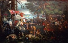 The Battle of Durbė. Painting by Vincas Norkus