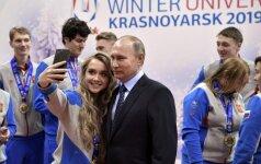 Vladimiras Putinas su jaunaisiais sportininkais Krasnojarske