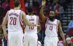 """""""Rockets"""" gretose – džiaugsmas dėl D. Motiejūno sugrįžimo, J. Hardenas trina rankomis"""
