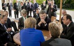 Angela Merkel, Vladimiras Putinas, Petro Porošenka, Francois Hollande'as