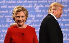Baigėsi pirmoji karšta H. Clinton ir D. Trumpo akistata: kandidatai svaidėsi žaibais