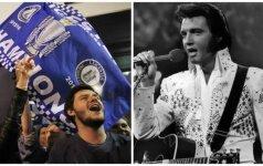 Leicester City fanai, Elvis Presley (AP-Scanpix nuotr.)
