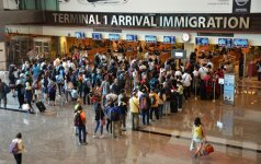 At immigration desk