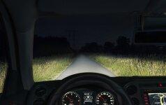 Automobilio šviesos naktį