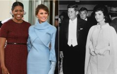 M. Obama, M. Trump, J. F. Kennedy su žmona