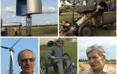 Meistrystės Panevėžyje: vėjo jėgainė, kapojanti malkas ir savadarbė žoliapjovė, pievą nupjaunanti už pusę lito