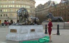 Londono Trafalgaro aikštėje – iš laikrodžių mechanizmų sukurtas liūtas