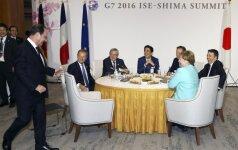 """Kinija """"labai nepatenkinta G7 pareiškimu dėl salų ginčo"""