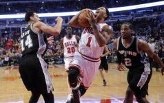 """NBA čempionai """"Spurs"""" krepšininkai skaudžiai pralaimėjo Čikagoje"""