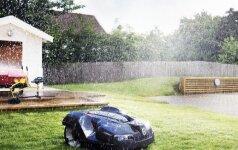 Robotas vejapjovė gali dirbti ir dieną, ir naktį, lyjant lietui ir kepinant saulei.