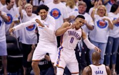 """Šalin išankstines prognozes: """"Thunder"""" trečią kartą pranoko """"Warriors"""""""