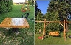 Darau pats: sūpynės vaikams ir lauko stalas iš medienos