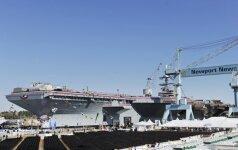 """D. Trumpas vadovaus lėktuvnešio """"USS Gerald R. Ford"""" perdavimo laivynui ceremonijai"""