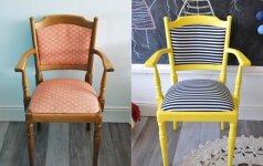 PRIEŠ ir PO: ryški kėdė