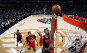 """Westbrooko rekordo nepakako – """"Thunder"""" nusileido Davisą praradusiems """"pelikanams"""""""