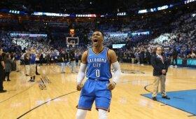 """Neįtikėtinas išsigelbėjimas: 25 taškų deficitą panaikinę """"Thunder"""" pratęsė savo sezoną"""