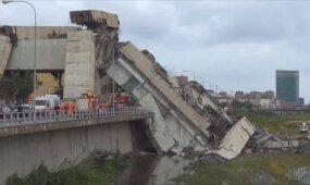 Įgriuvus didžiulio viaduko daliai Italijoje žuvo mažiausiai 11 žmonių