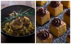 Aluje troškinti vištienos sparnelių peteliai ir bretoniški pyragaičiai
