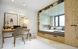 Vos 14 kv.m. kambaryje telpa miegamasis, poilsio ir darbo kambarys