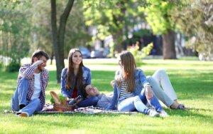 Piknikas gamtoje: lietuviai kepa mėsą, japonai sėdi po žydinčiais medžiais