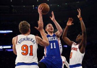 """""""Knicks"""" išplėšė pergalę prieš """"76ers"""" ekipą, M. Kuzminskas pagaliau pajuto pelnytų taškų skonį"""
