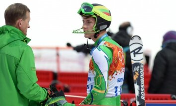 Slalomo trasos R. Zaveckas neįveikė