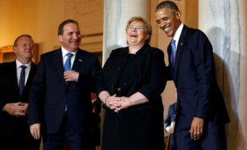 JAV prezidentas Barackas Obama, Norvegijos premjerė Erma Solberg, Švedijos premjeras Stefanas Lofvenas ir Danijos premjeras Larsas Lokke Rasmussenas