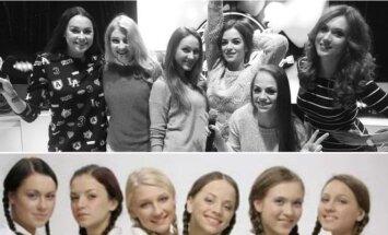 """Grupė """"Mokinukės"""" 2016 m. (viršuje) ir 2006 m."""