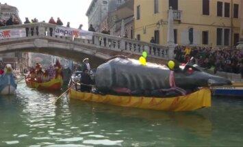 Venecijos lankytojus nudžiugino karnavalo gondolų flotilė