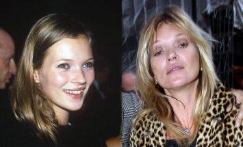 Kate Moss anksčiau ir dabar