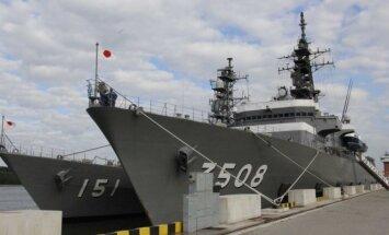 Japonijos savigynos pajėgų mokomosios laivų eskadros sutikimo ceremonija