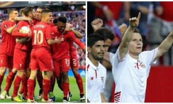 Liverpool ir Sevilla futbolininkai  (AP/AFP/Reuters)