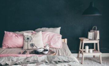 Įkvėpimui: tamsių atspalvių sienos miegamajame