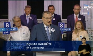 Kęstutis Daukšys of the Labour party during TV debate on LRT