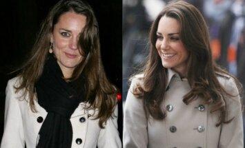 Kate Middleton kairėje - 2009 metais, dešinėje - 2016 m.