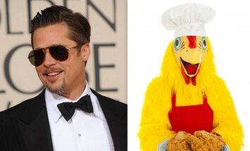 Bradas Pittas (nuotr. Reuters/Scanpix) ir viščiukas (nuotr. Shutterstock).