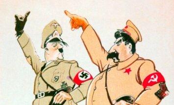 """SSRS ir Vokietijos paktas: """"Stalinas ir Hitleris kartu eina čiupti savo grobio"""". Švedų karikatūra."""