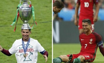 Cristiano Ronaldo emocijos Euro 2016 finale (AP-Scanpix, AFP-Scanpix nuotr.)