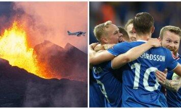 Ugnikalnis ir Islandijos futbolo rinktinė (AFP, Sipa-Press nuotr.)