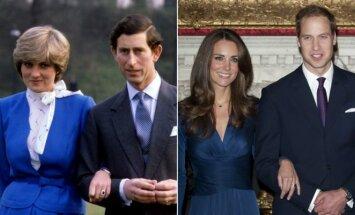 Princesė Diana ir princas Charlesas; Kate Middleton ir princas Williamas