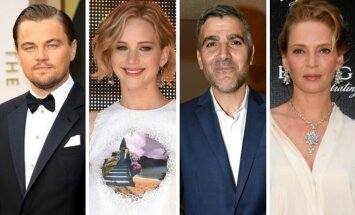 Leonardo DiCaprio, Jennifer Lawrence, George'as Clooney, Uma Thurman
