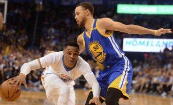 "NBA, ""Thunder"" – ""Golden State Warriors"" rungtynių akimirkos"