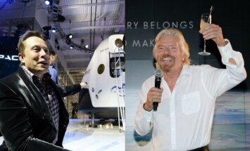 Elonas Muskas, Richardas Bransonas (AP/AFP nuotr.)